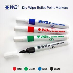 Whiteboard Marker Dry Wipe Pens Bullet Tip Erase Wipe Clean Board Metal Glass
