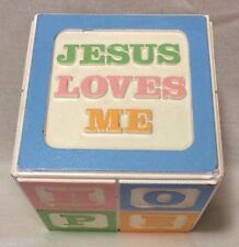 Vintage Music Box Alphabet Baby Nursery Jesus Loves Me Religious Love Care Hope