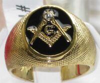 Masonic gold ring onyx signet pinky 18kt oval black steel diamond all size 1403