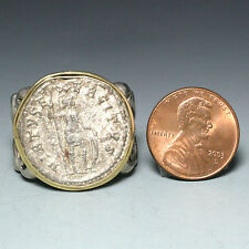 Ancient Roman Empire Coin Ring, Sterling Silver with 18K Gold Bezel, Size 11