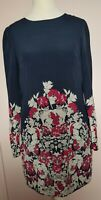 WAREHOUSE Long Sleeved Fully Lined Navy/Floral Silk Shift Dress Size 8