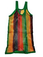 MENS STRING RASTA  MESH VEST 100% COTTON MESH FISH NET FITTED STRING VEST