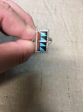 Native American Womens Zuni Inlay Turquoise Lee Tucson Ring Size 8 Wow Nice #2
