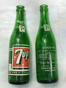 Vintage 7 Up Bottles - Set of 2