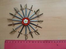 DOLLS HOUSE TUDOR OR MEDIEVAL SWORD DISPLAY WITH TUDOR ROSE, HAND CRAFTED