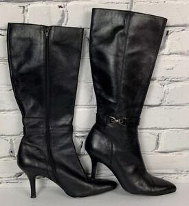 AK Anne Klein Stiletto Boots 8.5 M Black Leather Pointed Toe MAJAYLYN Full Zip
