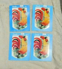 Vintage 1950's Meyercord Decals Set Of Four Large Roosters X173-B