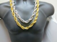 "18KT HIP HOP  WHITE OR YELLOW GOLD PLATED 30"" 16MM ROPE CHAIN  BLING NECKLACE"