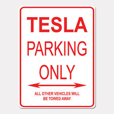 "TESLA Parking Only Street Sign Heavy Duty Aluminum Sign 9"" x 12"""