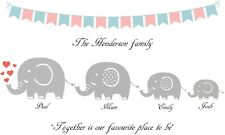 Personalised elephant family picture. Colourful family of elephants print.