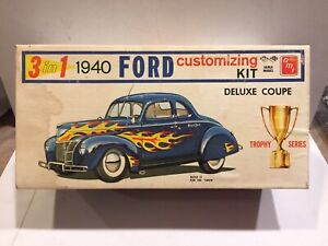 vintage 1:24 AMT 3 IN 1 Trophy Series model car kit 1940 FORD DELUXE COUPE #140