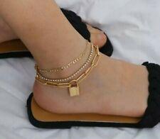 chain golden Jewellery Lock Padlock Anklet