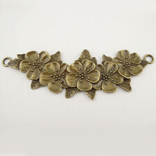5PCS Vintage Bronze Tone Beauty Flower Pendant Connector Finding Hot Sale 37651