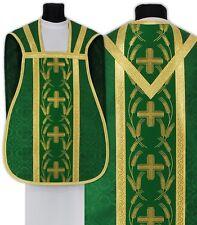 Green Roman Chasuble with stole R032-Z25 Casulla Romana Verde Casula Grün Kasel