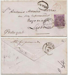 GB QV 1870 cover London to Lisbon, Portugal 6d plate 8 IQ/QI attractive cover