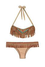 Pin Up Stars Damen Bandeau Bikini Pocahontas Fransen Wildlederoptik Farben