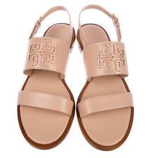 644393188eec9f Tory Burch Melinda Powder Coated Flat Two Bands Sandals Slingback Shoes 9