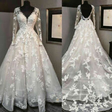 Lace Appliques Long Sleeve V Neck A Line Wedding Dresses Backless Bridal Gowns