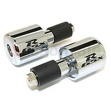 GSXR LOGO - SILVER - Suzuki GSX-R Bar Ends BarEnds Motorcycle Weight Slugger