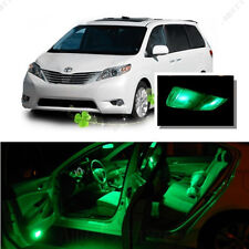 For Toyota Sienna 2011-2016 Green LED Interior Kit + Green License Light LED