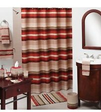 New Saturday Knight Madison Stripe Red Beige Natural Color Fabric Shower Curtain
