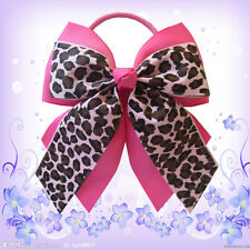 """14 BLESSING Happy Girl Hair Accessories 4.5"""" B- Double Cheer Leader Bow Elastic"""