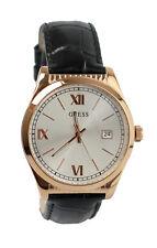 GUESS Herren Armbanduhr Uhr W0874G2 Rose Gold Armband Leder Schwarz