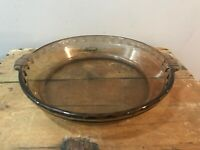 "Pyrex 229 Amber Brown Ovenware Pie Pan Baking Bakeware Casserole Glass Dish 10"""