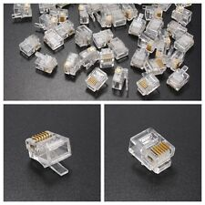 50pcs RJ12 RJ11 Tel ADSL Modular Plug 6P6C Connector Gold Plated Cable End Head