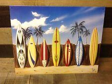 Westmoreland Lined Up Surf Boards Sign Tin Vintage Garage Bar Decor Old Rustic