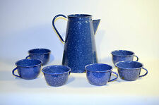 Collectible Blue & White Speckled Enamelware Coffee Tea pot with 6 Cups