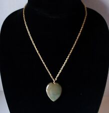 Heart Stone Pendant Necklace Green Polished Gold Tone Chain 9 inch Chain Love