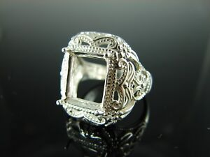 6200 STERLING SILVER RING SETTING, 12X10 MM EMERALD OR RECTANDGLE STONE, SZ.6.75