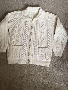 Ladies Hand Knitted Wool Aran Cardigan  M