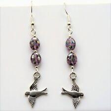 Bird Earrings Sterling Silver Hooks Purple Peacock Finish Czech Beads New LB158