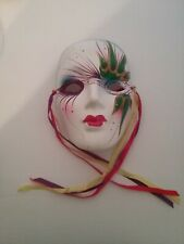 Painted Ceramic Mardi Gras Mask with Ribbons