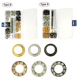 90 Rhinestone Grommets Metal Round Hollow Rivet Buckles Tools Box Leather Craft