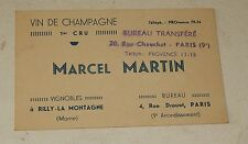 Ancienne CARTE de VISITE Vin de CHAMPAGNE 1er Cru Marcel MARTIN à RILLY
