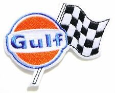 Gulf Checkered Flag Oil Gas Gasoline Biker Logo Patch Iron on T-shirt Cap Badge