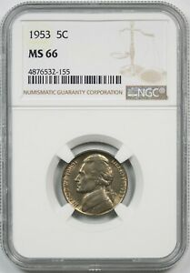1953 5C NGC MS 66 Jefferson Nickel