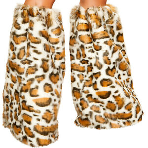 Leopard Print Legwarmers Furry Fuzzy Boot Covers Rave Dance Costume 4890