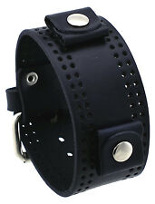 Nemesis WP-K Black Fashion Holes Wide Leather Cuff Wrist Watch Band