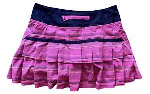 LULULEMON Run Pace Setter Skirt size 4 Elevation Stripe Pow Pink / Deep Indigo