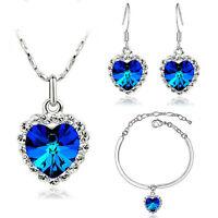 Hearts Love Jewellery Set Earrings Necklace Bracelet Romantic Dark Blue S300