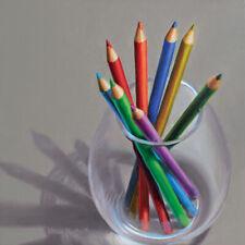 DANFORTH Colored Pencils 8x8 still life oil painting original