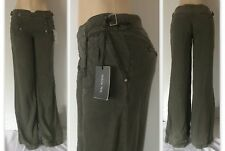 01451ae7b3 Patrizia Pepe Wide Leg Trousers Women Pants w/ Adjustable Waist, Green  Lane, 31