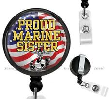 Proud Marine Sister Clip On Id Badge Reel Retractable Work Identification Holder
