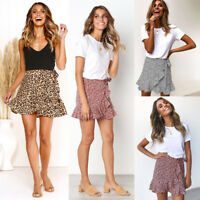 6170d6555bb1 Women Belted Elastic Mini Skirt High Waist Leopard Print Slim Ruffle Party  Skirt