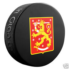 Team Finland 2016 World Cup of Hockey SOUVENIR LOGO PUCK Sher-Wood In Glas Co