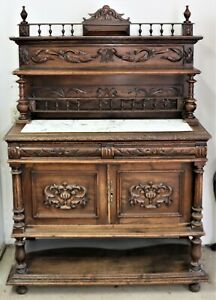 "Victorian Carved Oak Dessert Server Buffet Sideboard 68"" x 48"" Marble Top"